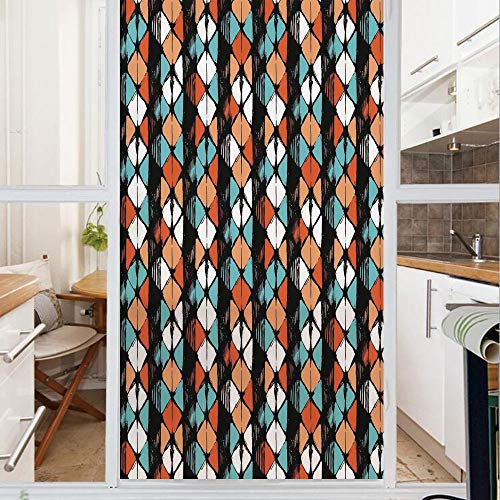 Decorative Window Film,No Glue Frosted Privacy Film,Stained Glass Door Film,Vector Contemporary Geometrical Hexagonal Detailed Image,for Home & Office,23.6In. by 59In White Salmon Turquoise and Black