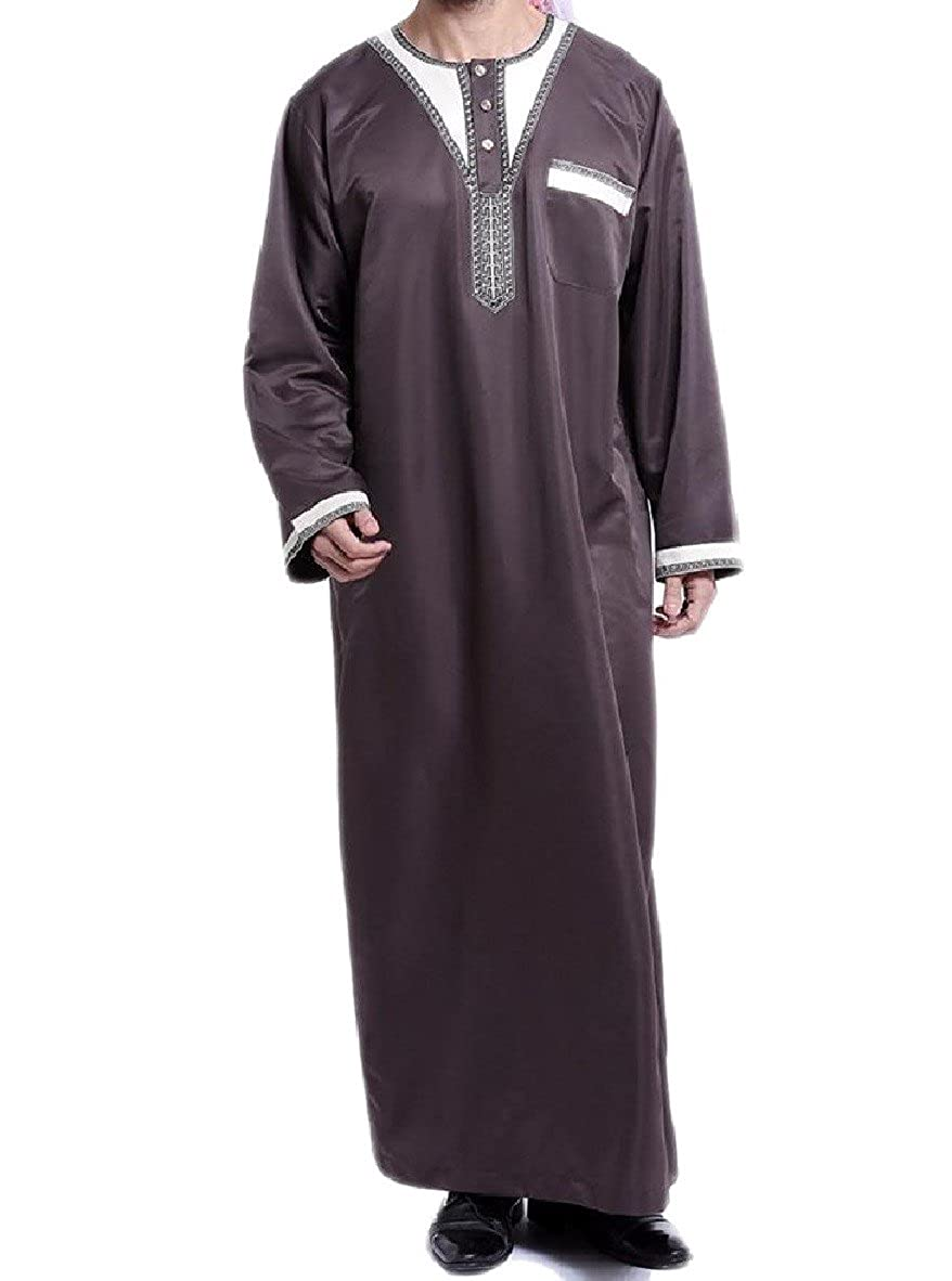 Zimaes-Men Robes Solid-Colored Long Sleeve Embroidery Arab Gown ... f2a994d11