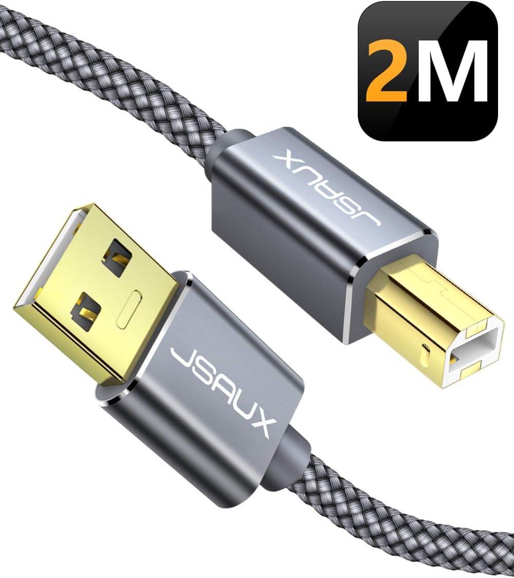 JSAUX Cable Impresora [2M] Cable Impresora USB Tipo B 2.0 ...