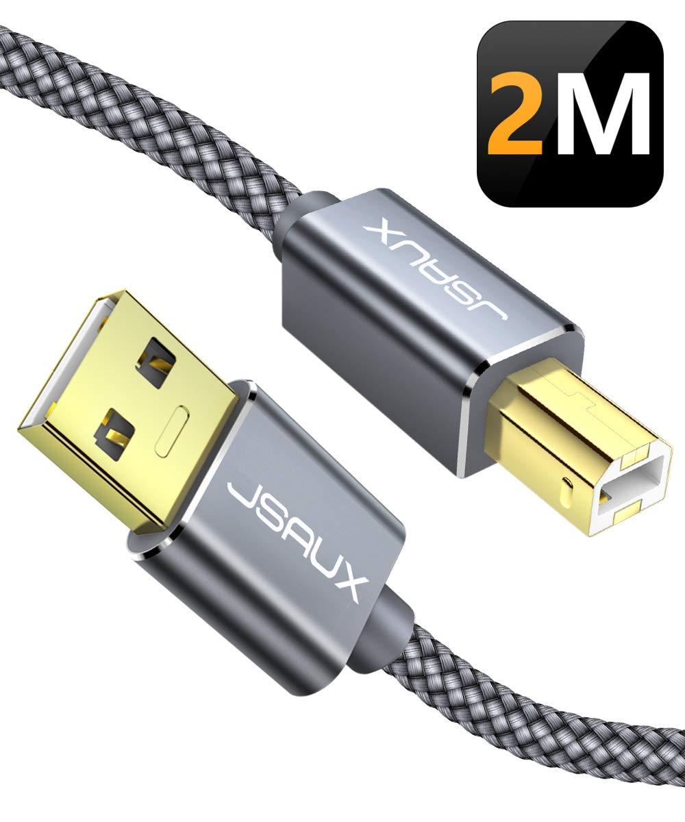 JSAUX USB Druckerkabel 2M Scanner Kabel USB A auf USB B Drucker Kabel für HP, Canon, Dell, Epson, Lexmark, Xerox, Brother, Samsung usw - Grau product image