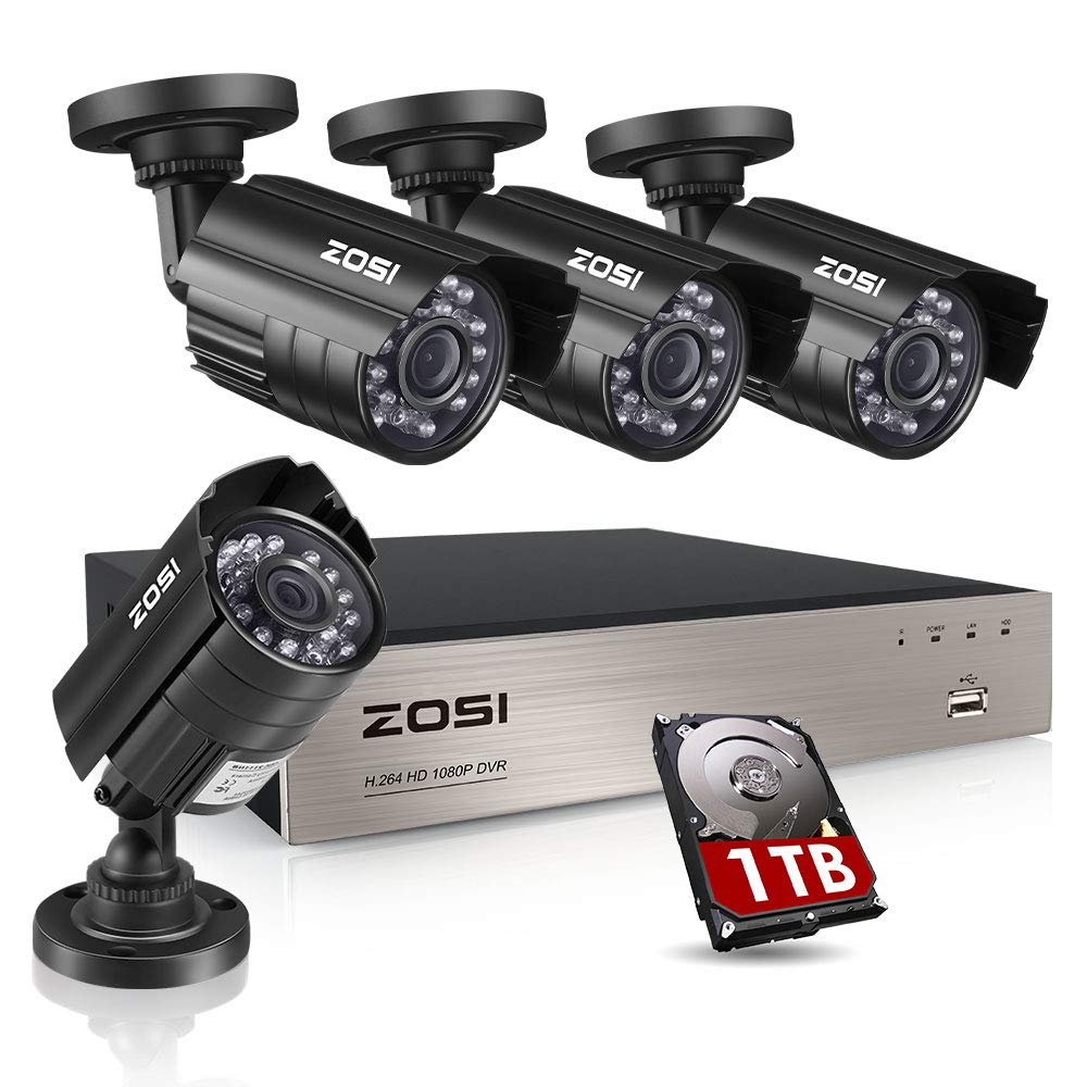 Amazon.com : ZOSI 8CH Security Camera System HD-TVI Full 1080P Video DVR  Recorder with 4X HD 1920TVL 1080P Indoor Outdoor Weatherproof CCTV Cameras  1TB Hard ...