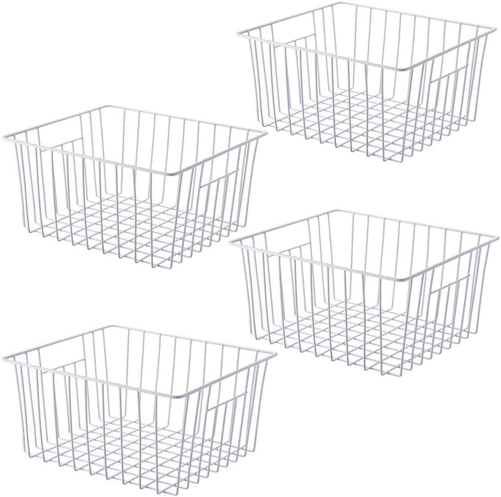 SANNO Freezer Storage Organizer Baskets, Household Refrigerator Bin with Built-in Handles for Cabinets, Pantry, Closets, Bedrooms - Set of 4