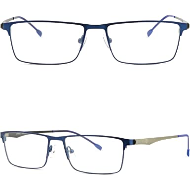 8b37770eb14 Blue Full Rim Thin Light Mens Women Titanium Frame Rectangular Rectangle  Glasses