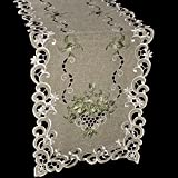 Linens, Art and Things Embroidered Green Leaf on Antique Green Fabric Table Runner Dresser Scarf Coffee Table Doily 16'' x 70''