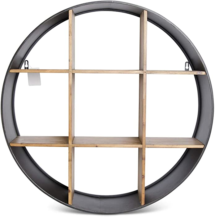 K&K Interiors 16484A 29.25 Inch Round Dark Metal Wall Shelf w/9 Wooden Divided Cubbies, Brown and Black