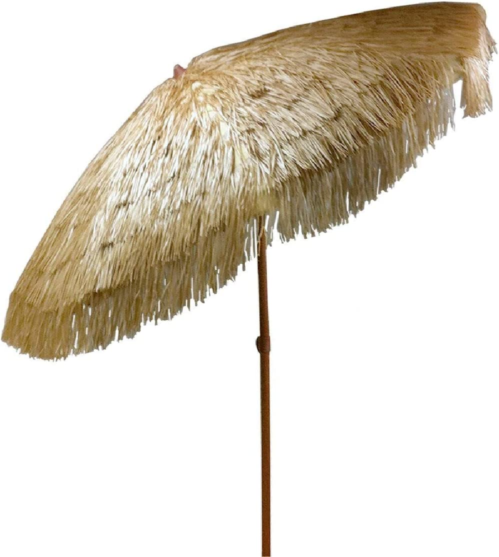 8 feet Hula Umbrella with Tilt Outdoor Thatched Umbrella with Vented Canopy Tilt and Fabric Carry Bag UPF 50 8 FT with Tilt, Natural
