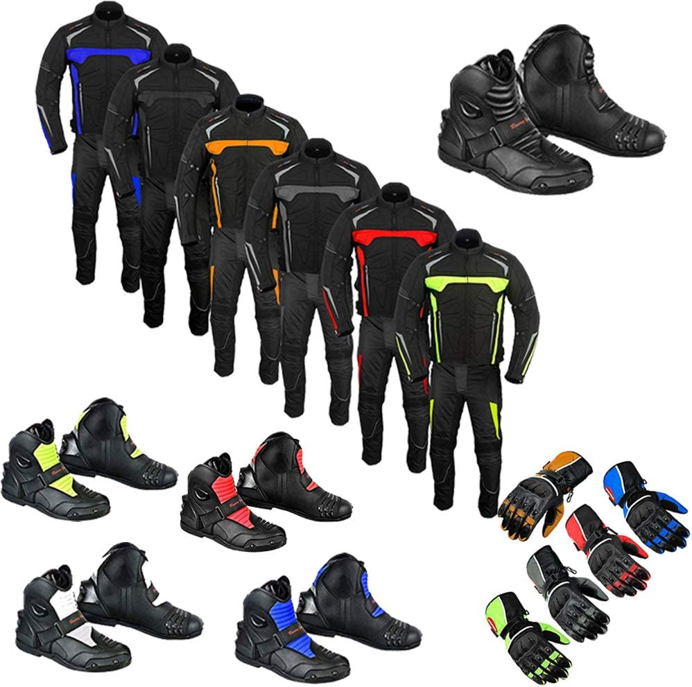 Traje de moto botas guantes 2 piezas traje jinete moto moto impermeable traje chaqueta con pantalones guantes gris MixMtch