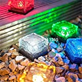 Generic Warm white : Solar Garden Ornament Pond Landscape Path Swimming Pool LED Lamp Glass Luminous Decorative Stones Brick Outdoor Decoration Light