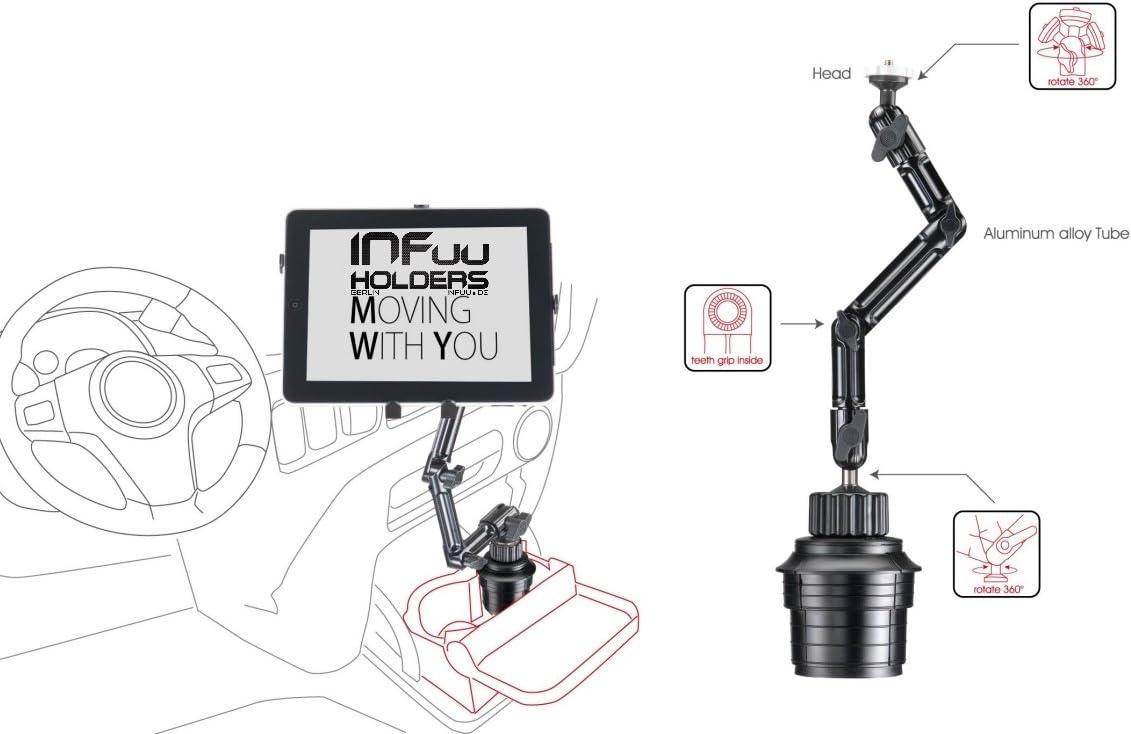 /15/Pulgadas Infuu Holders Coche Metal becherhalterung Soporte para Bebidas Aluminio para Tablet 10/ Apple iPad Pro 12,9/Galaxy Note Pro XXL 104/de Pro