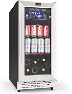 "COLZER 15"" Beverage Refrigerators Cooler, 3.6 Cu Ft(130 Can) Freestanding and Built-in Mini Fridge with Glass Door for Soda Beer Wine for Office Home Bar"