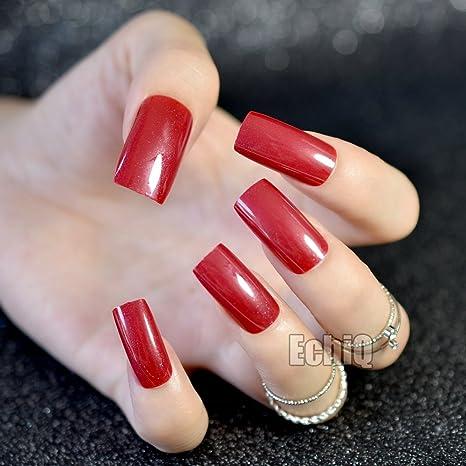 EchiQ - Uñas postizas cuadradas de color rojo con purpurina brillante, uñas postizas de ABS