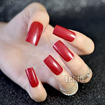 Amazon.com : CoolNail Square False Nail Red with Shimmer Glitter Fake Nail ABS Long Nails Acrylic Nail Tips Sexy Lady Manicure Tools : Beauty