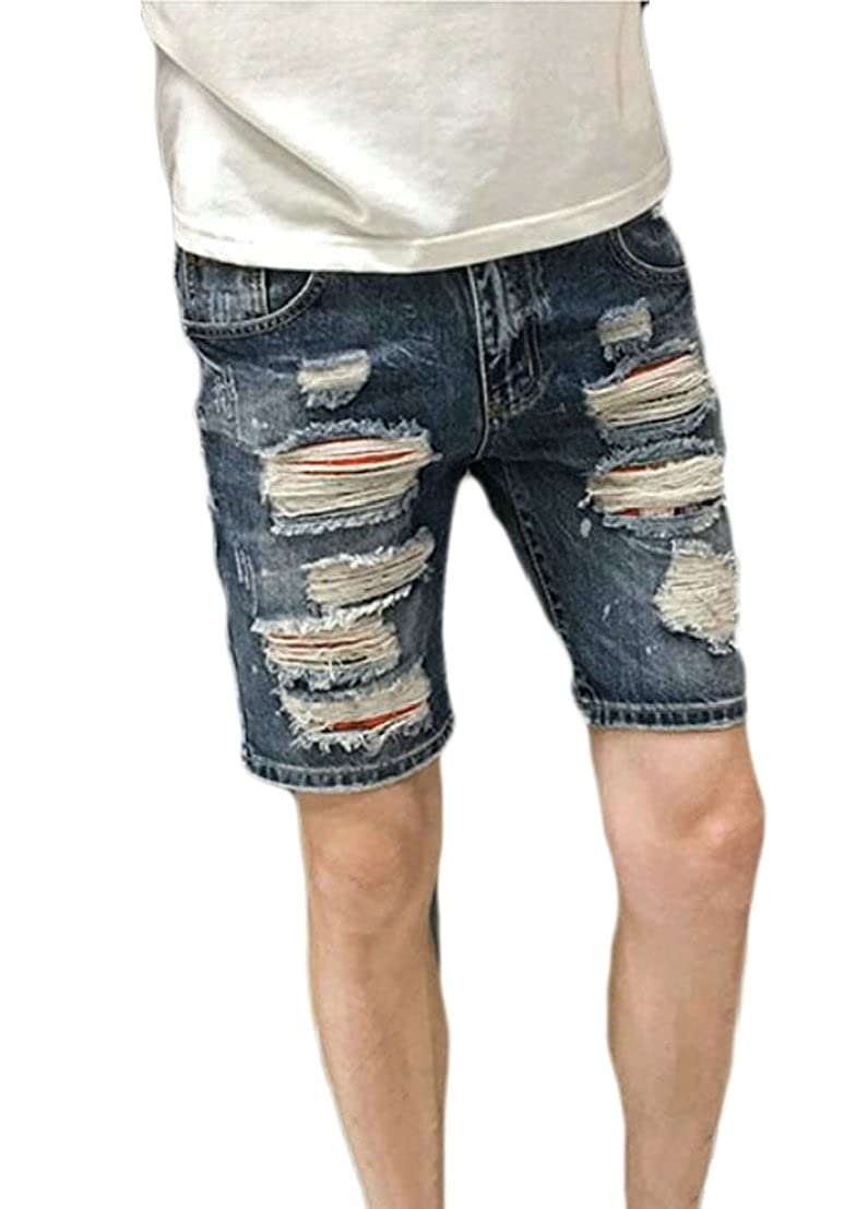 Generic Mens Fashion Ripped Distressed Hole Straight Fit Denim Shorts