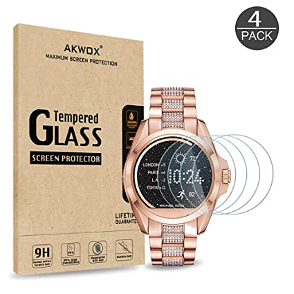 [4 Pack] Tempered Glass Screen Protector for Michael Kors Access Bradshaw MKT5001/MKT5004/MKT5006/MKT5012/MKT5013, AKWOX [0.3mm 2.5D High Definition ...