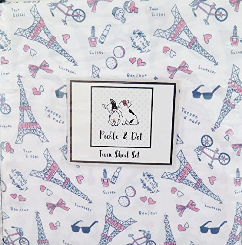 Pickle & Dot Paris Themed Twin Sheet Set - Eiffel Tower ~ Designed and Made with Love! (Paris Teenagers Themed Bedroom For)