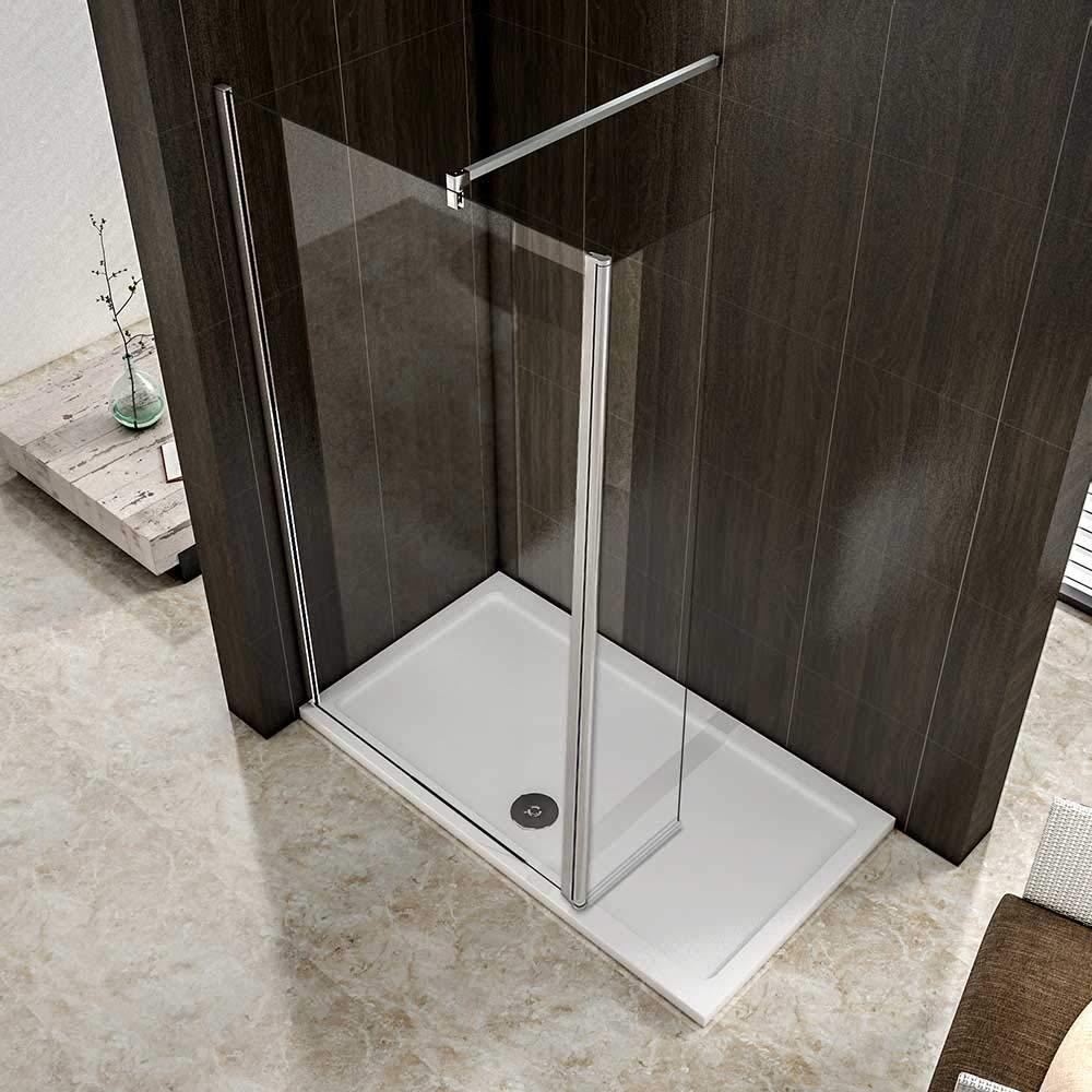 AICA paroi de douche pivotante 50x200cm+40x200cm paroi /à litalienne avec un retour