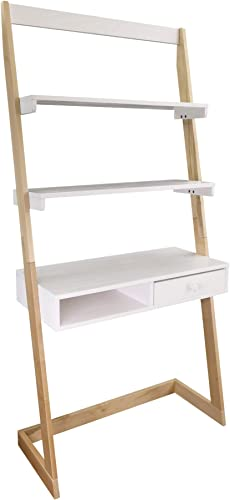 American Trails Freestanding Ladder Desk With Drawer, Natural Maple White