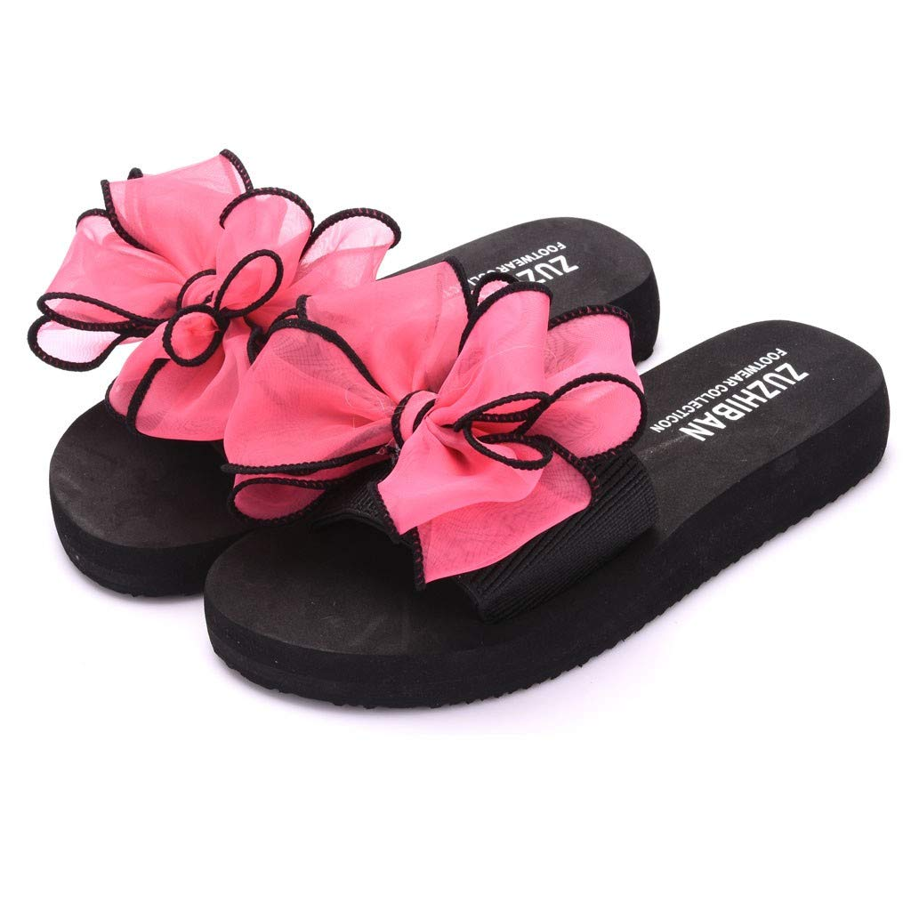 KANGMOON Women Summer Bow Flat-Bottomed Slip-On Wear Thick-Soled Beach Slippers