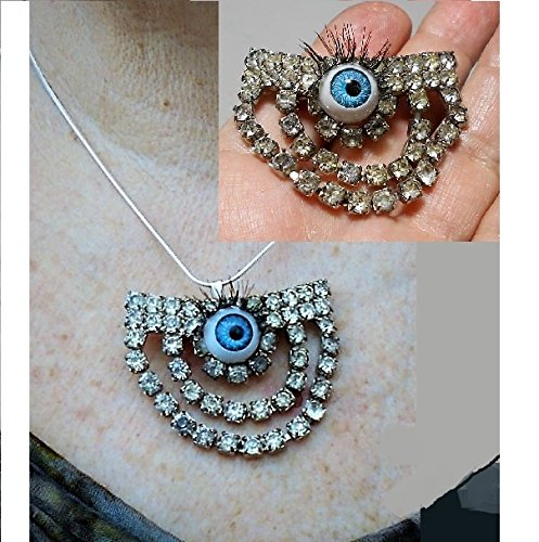 1930's Art Deco Rhinestone Buckle with Steampunk Evil Eye & Lashes Added for Your Protection, Brooch/ Pendant. Sterling Necklace Avail (Evil Buckle)