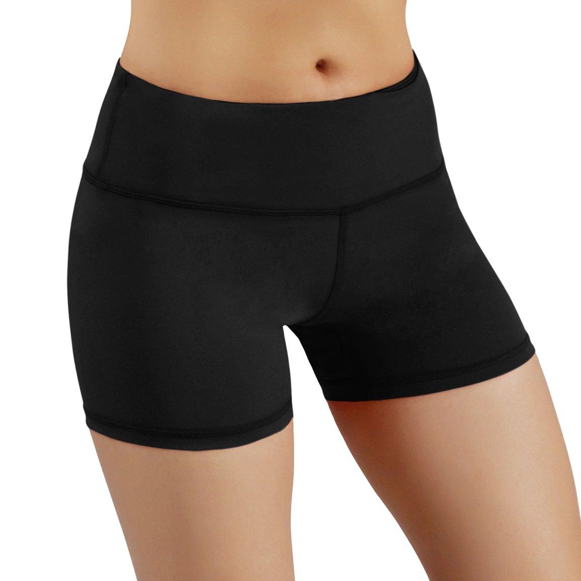 ODODOS Power Flex Yoga Short Tummy Control Workout Running Athletic Non See-Through Yoga Shorts with Hidden Pocket,Black,Medium