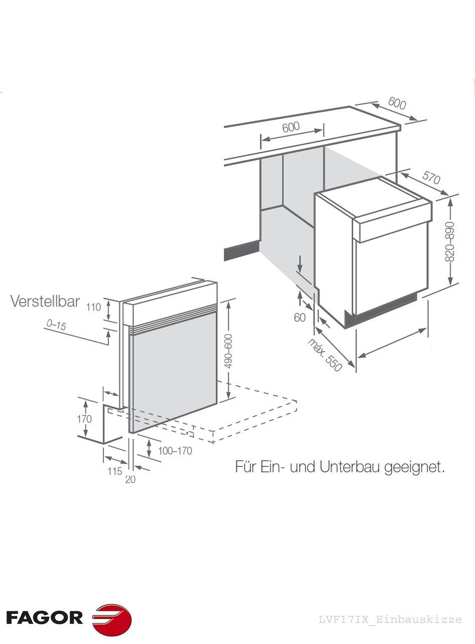 Fagor LVF17IX - Lavavajillas (Totalmente integrado, Gris, Acero ...