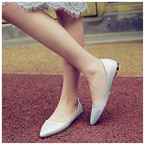 Flats Slip Women TAOFFEN on White Shoes Pumps qvFqnwzxS