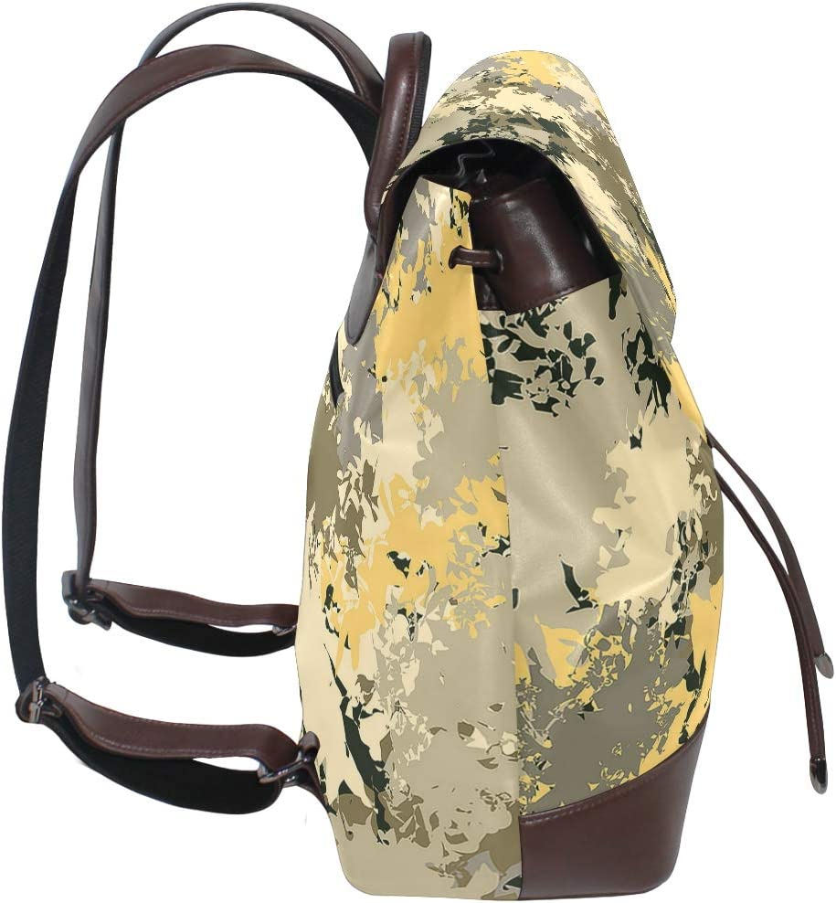 Unisex PU Leather Backpack Brown Camouflage Yellow Print Womens Casual Daypack Mens Travel Sports Bag Boys College Bookbag
