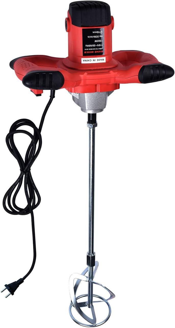 1500W Cemento de hormigón eléctrico Yeso Lechada Pintura Thinset Mortero Paleta Taladro Mezclador Herramienta de agitación Ajustable 6 Velocidad 220V