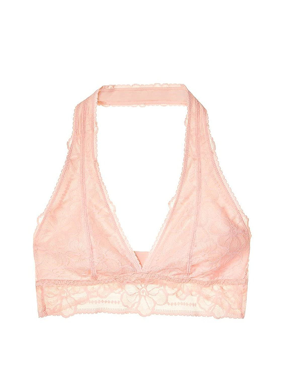 f3a9ff1cb8 Victoria s Secret Pink Unlined Tropical Lace Halter Bralette Bra ...