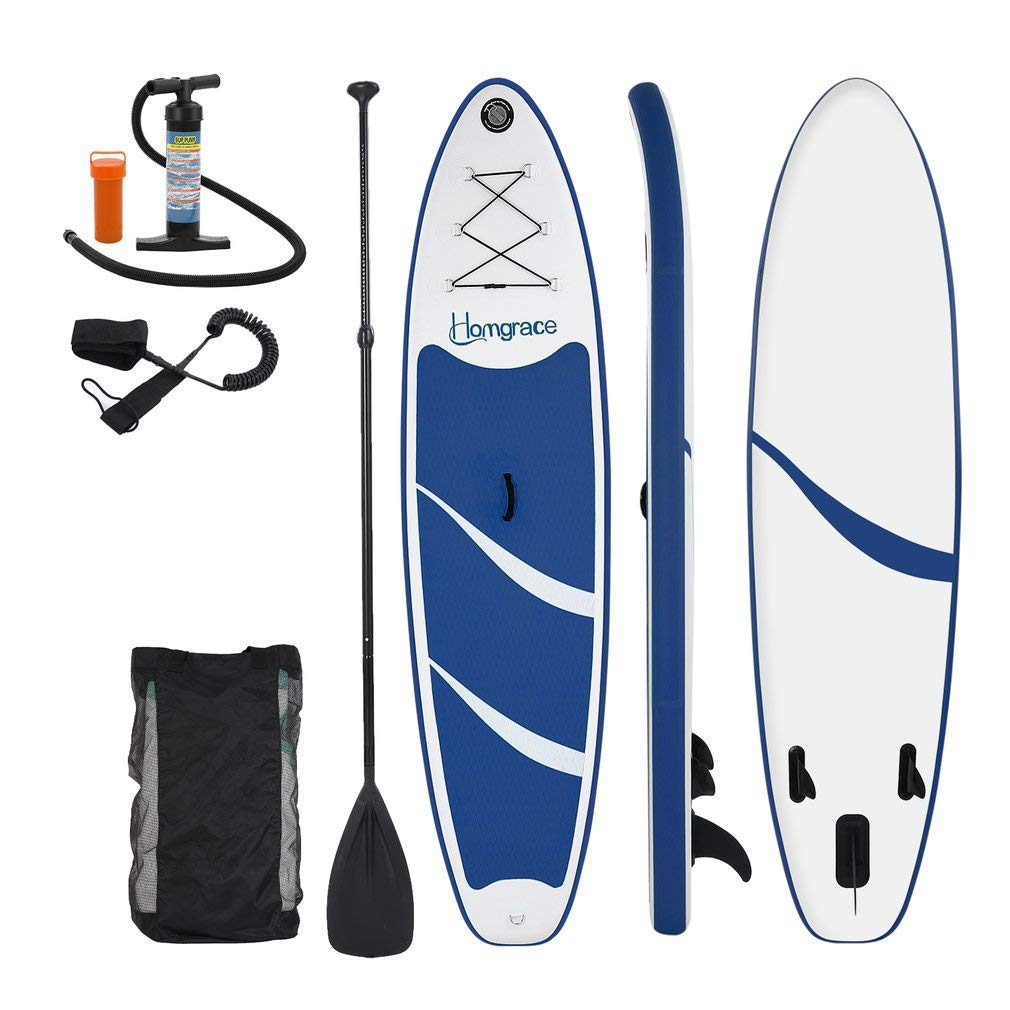 Homgrace Inflatable SUP/Kayak Surfboards Stand up Paddle Board with Carrying Storage Bag Manual Pump Kit Removable Fin All Skill Levels (Blue)