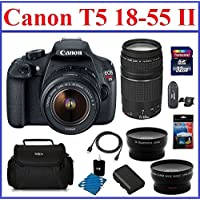 Canon EOS Rebel T5 Digital SLR Camera with 4 Lenses Professional Bundle: Includes - Canon EF-S 18-55mm IS II Lens + Canon EF 75-300mm f/4-5.6 III Lens + 2.2X Telephoto & 0.43X Wide Angle Lenses + Spare Battery + Camera Bag + Mini HDMI Cable + 32GB High Speed SDHC Memory Card + Card Reader + Lens Cleaning Kit + Screen Protector Overview Review Image