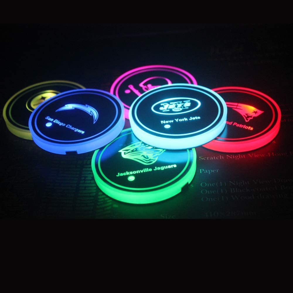 Hyundai LED Interior Atmosphere Lamp Decoration Light. 7 Colors Changing USB Charging Mat Luminescent Cup Pad 2pcs LED Car Hyundai Logo Cup Holder Lights for Hyundai