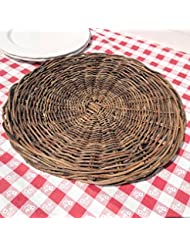The Made By Nature Round Woven Wicker Rattan Placemats Set Of 2 Chunky Weave 16 1 8 X 3 4 Inches Diameter Circular Table Top Charger By Whole House Worlds