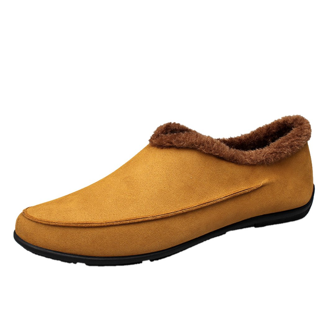 Sun Lorence Men's Winter Casual Flexible Suede Leather Warm Short Plush Lined Slip-on Loafers Flat Shoes Yellow 7 M US Men
