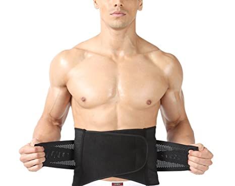 cd4fea531a Fletion Men s Adjustable Waist Trimmer Breathable Waist Cincher Sauna Ab  Belt Lumbar Back Braces Tummy Belly