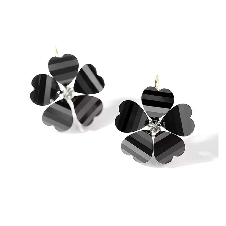 Elegant Flowers Hoop Earrings for Women Girls with Gift Box Fashion Love Heart Shape Crystal Earrings