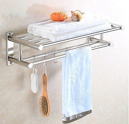 wysm Cuarto de baño WC estanterías de acero inoxidable de doble toalla toallero estante toallero barra