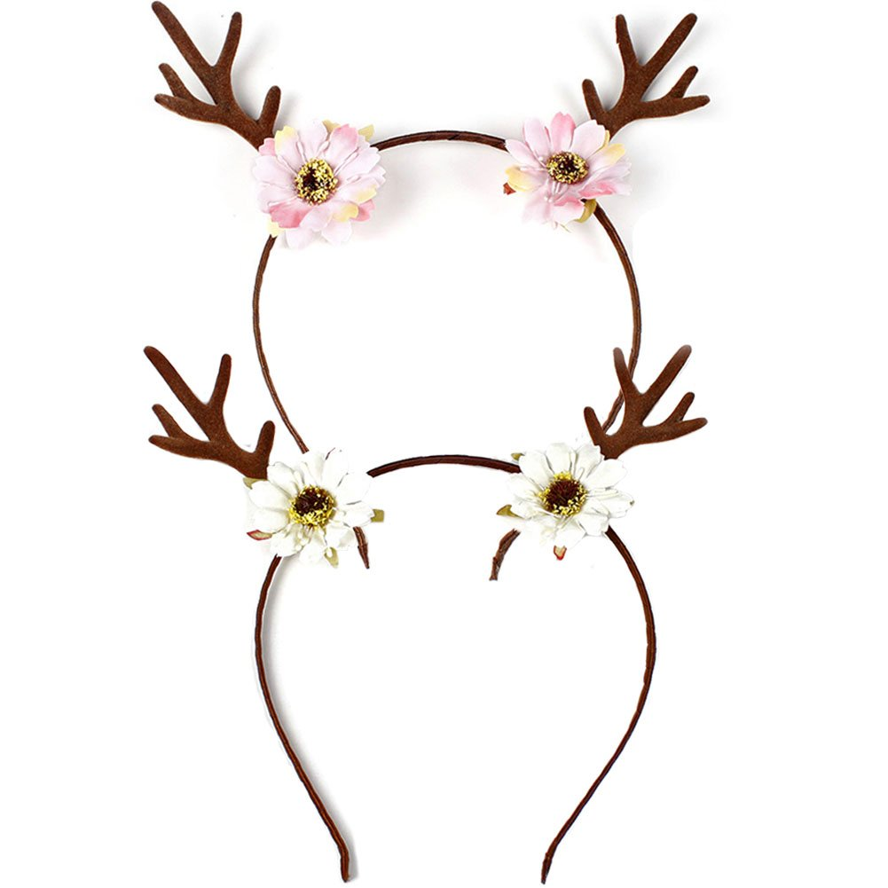 UCLEVER 2Pcs Antlers Headband Flowers Ears Headbands for Party Decoration or Cosplay (Pink & White)