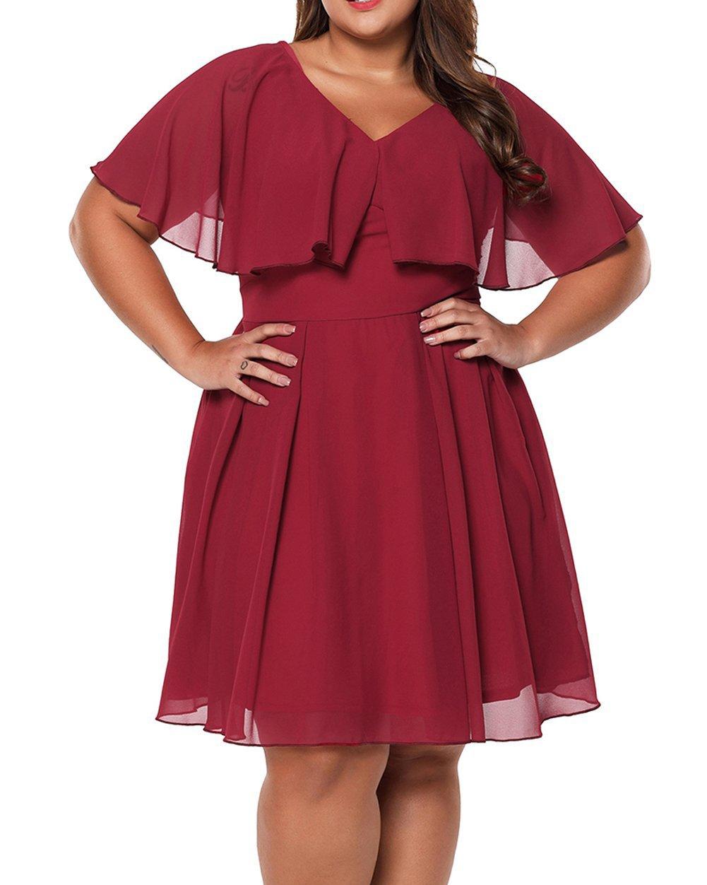 Rotita Women Ruffle Plus Size A Line Dress Sexy V Neck Pleated Fit and Flare Midi Dress