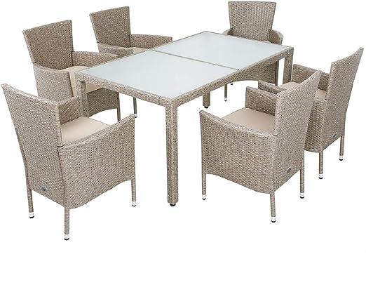 Casaria Conjunto de sillas y Mesa de poliratán Gris Beige sillas apilables 6 Cojines Grosor 7cm Muebles jardín Set: Amazon.es: Jardín