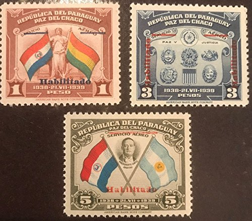 1939 Paraguay Collectible Postage Stamps - Scott 388-90 Set of 3 - Mint Never Hinged - Paz del Chaco Airmail Issue, Overprinted for Domestic Use - Four ()