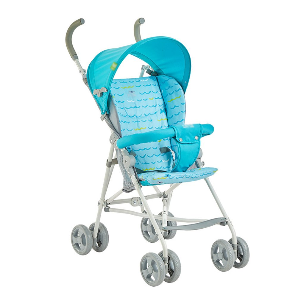 ERRU- 夏の赤ちゃんのベビーカー軽量の折り畳みの半分の天井の幼児子供トロリー傘車のクッションリムーバブルプッシュチェアブルーピンクベビーキャリッジ 軽量 ( 色 : 青 )  青 B07CPMGH9F