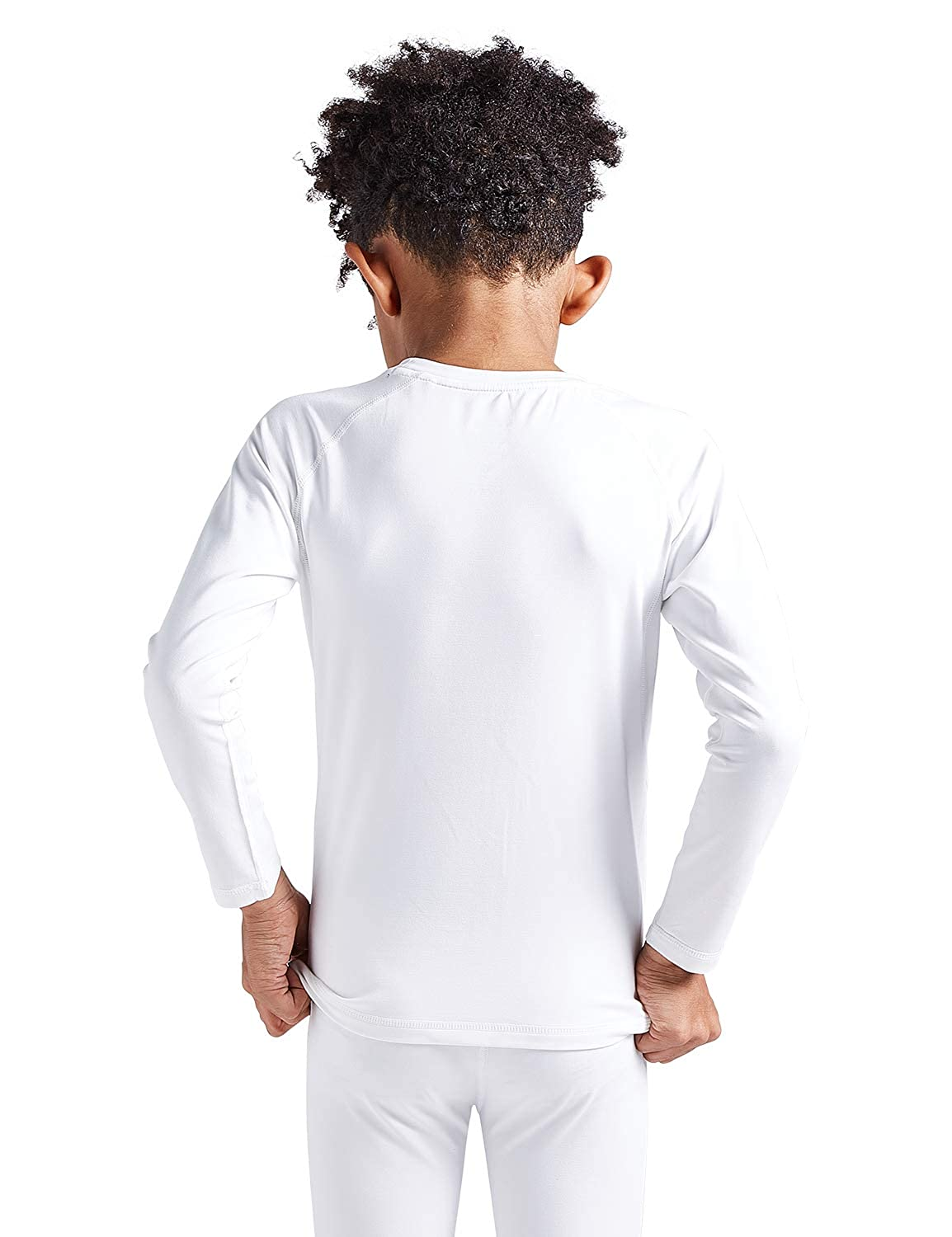 COOLOMG Boys Girls Thermal Long Sleeve Compression Shirts Fleece Lined Base Layer Tops Soccer Hockey Sport