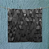 AuraiseHome microfiber towelblack triangular background grunge surface Excellent Water Absorbent Antistatic W13.8 x W13.8