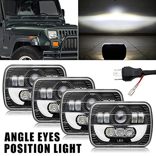 Colight LED Rectangular Headlight Projector 7x6 5x7 inch 4pcs CREE Sealed Beam Replacement Hi/Lo Beam DRL Fits Headlamp Bulb for Jeep Wrangler, T002N, by Colight