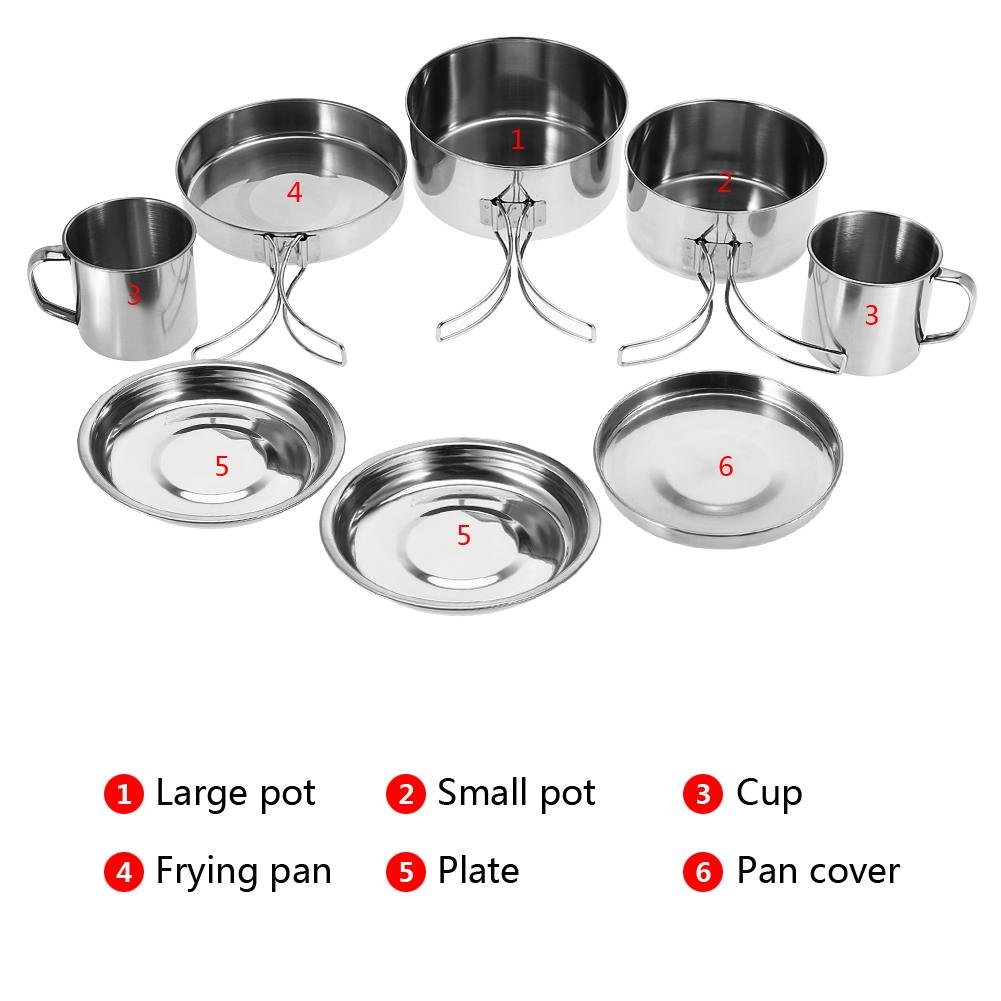 VGEBY1 8 Piezas//Juego de Utensilios de Cocina para Acampar al Aire Libre Utensilios de Cocina port/átiles de Acero Inoxidable para cocinar y cocinar