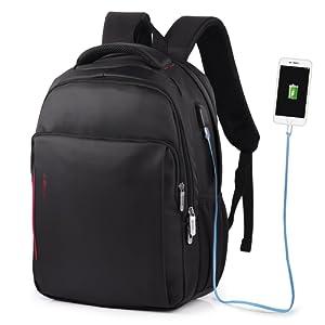 af96eda600 VBIGER Sac à Dos pour Ordinateur Portable Etanche Antivol avec Câble USB et  Port de Charge