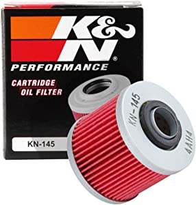 K&N Motorcycle Oil Filter: High Performance, Premium, Designed to be used with Synthetic or Conventional Oils: Fits Select Yamaha Vehicles, KN-145
