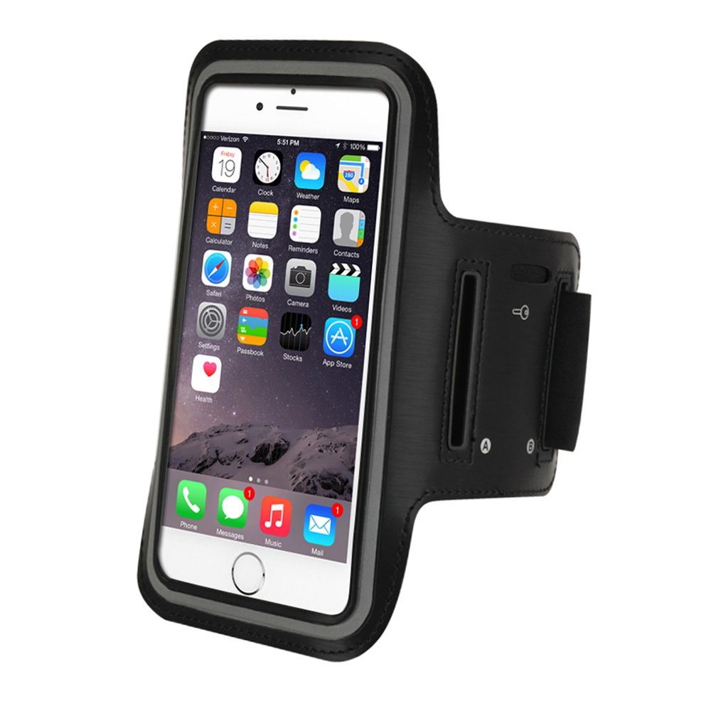 Refoss Sports Armband for iPhone 7 Plus, Water Resistant Running Armband with Key Holder for iphone 8 Plus, 7 Plus, 6 Plus(5.5-Inch), 6S, 7, 6, Galaxy S7/S6/S5, Note 4 with Screen Protector, Black