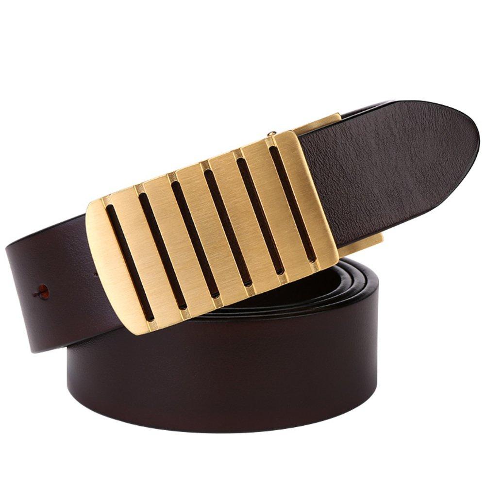 JIEJING Men's Belt,Copper Smooth buckles Upscale Belt Leisure Business Belt-dark brown 125cm(49inch)